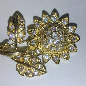 NWT Sun Flower Brooch in 925 Sterling Silver 24 Kt